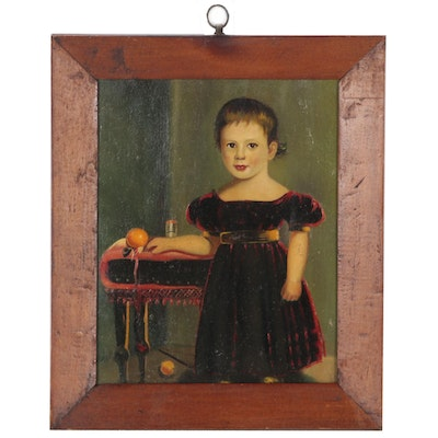American Folk Style Portrait Oil Painting of a Child, Late 19th Century