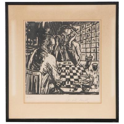Elizabeth Monath Woodcut of Chess Players, 1958