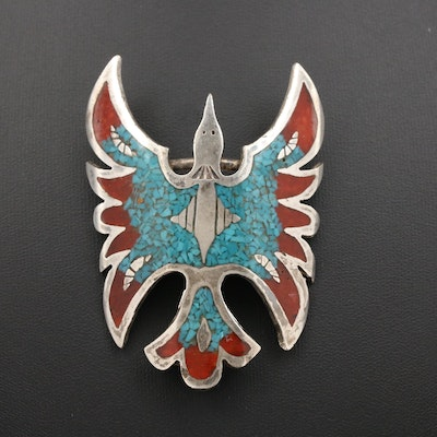 Fire Bird Clip Featuring Turquoise and Coral in Resin