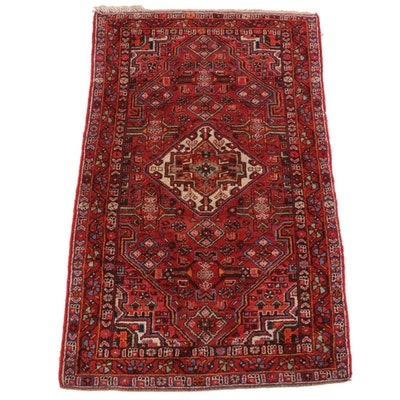 4'8 x 7'11 Hand-Knotted Persian Hamadan Wool Rug