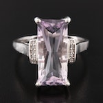 Sterling Silver Amethyst and Diamond Ring