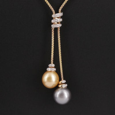 14K Gold Cultured Pearl and Diamond Necklace with 18K Gold Clasp