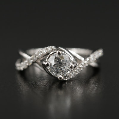 "14K White Gold 1.10 CTW Diamond Ring with Center ""Crown of Light®"" Diamond"