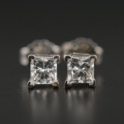 18K White Gold 0.70 CTW Diamond Stud Earrings