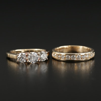 14K Yellow Gold 1.04 CTW Diamond Ring and 0.48 CTW Diamond Band
