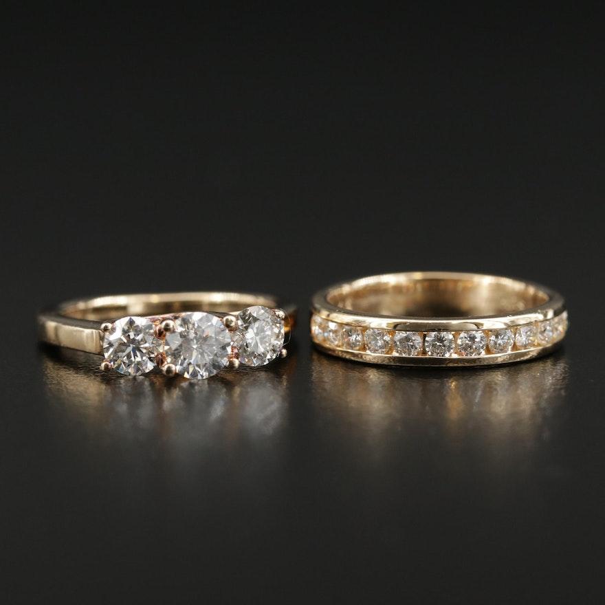 14K Yellow Gold 1.04 CTW Diamond Ring and 0.48 CTW Diamond Band