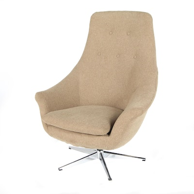 Mid Century Modern Swivel Lounge Chair, Mid-20th Century
