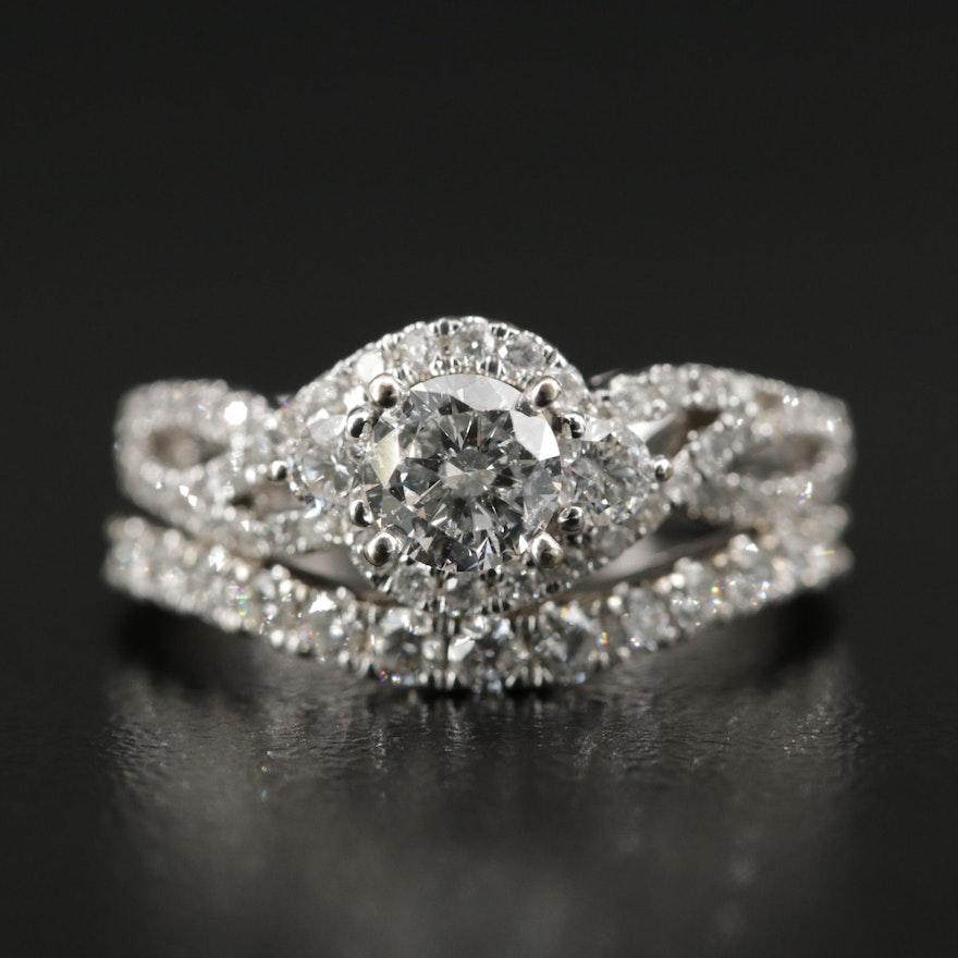 14K White Gold 1.00 CTW Diamond Ring and 0.26 CTW Diamond Band