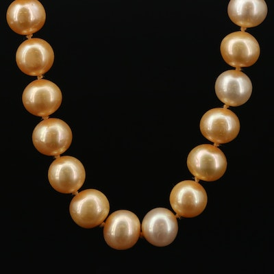 Hand Knotted Single Strand Pearl Necklace with 14K Clasp