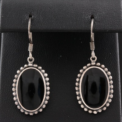 Southwestern Style Sterling Silver and Black Onyx Drop Earrings