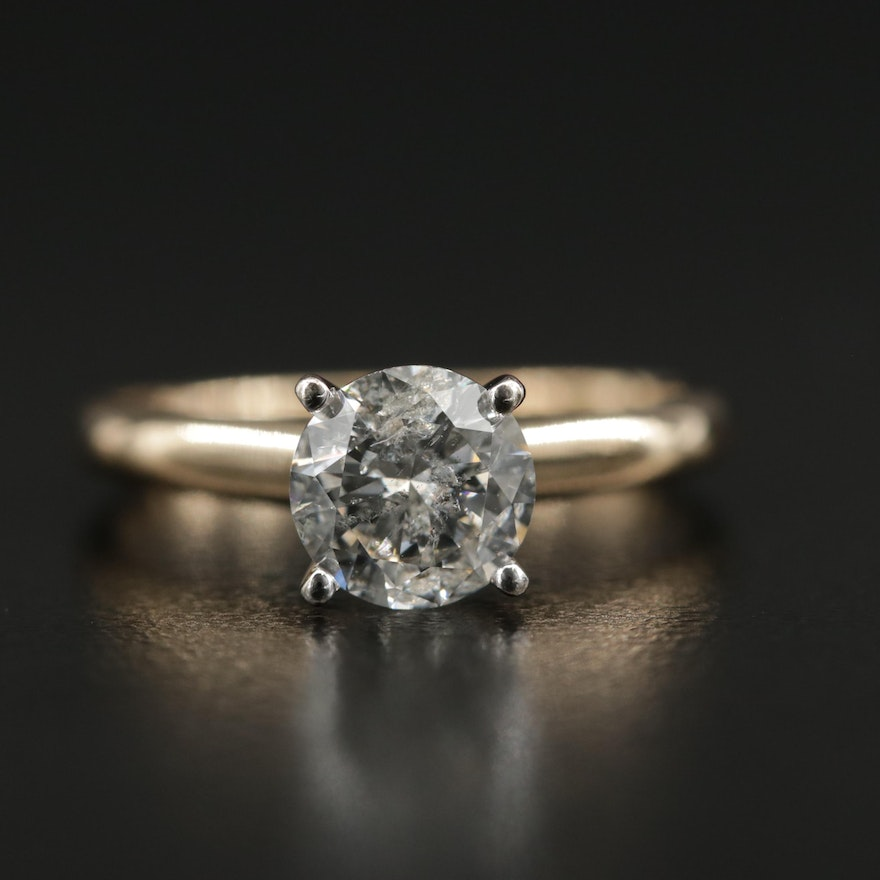 14K Yellow Gold 1.03 CT Diamond Solitaire Ring