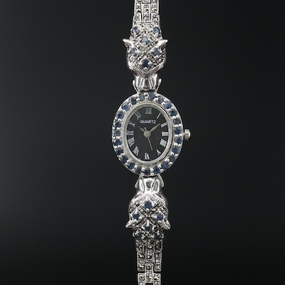 Sterling Ruby, Sapphire and Marcasite Panther Quartz Wristwatch