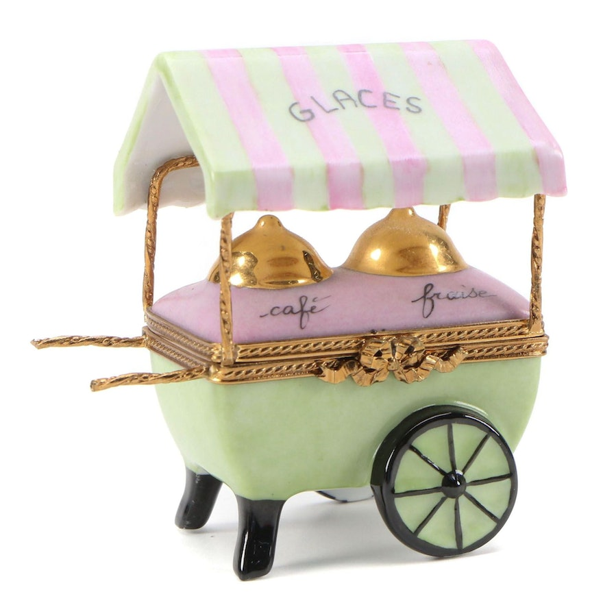 "Hand-Painted Porcelain ""Ice Cream Glaces Cart"" Limoges Box"