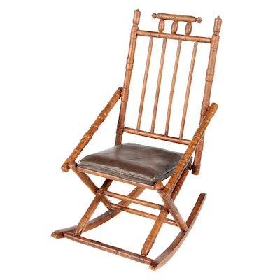 Victorian Folding Rocking Chair, Late 19th Century
