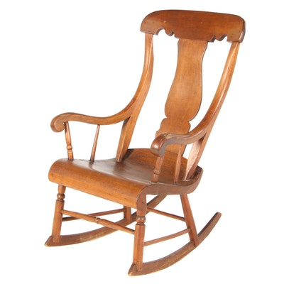 American Primitive Poplar Rocking Chair, Mid-19th Century