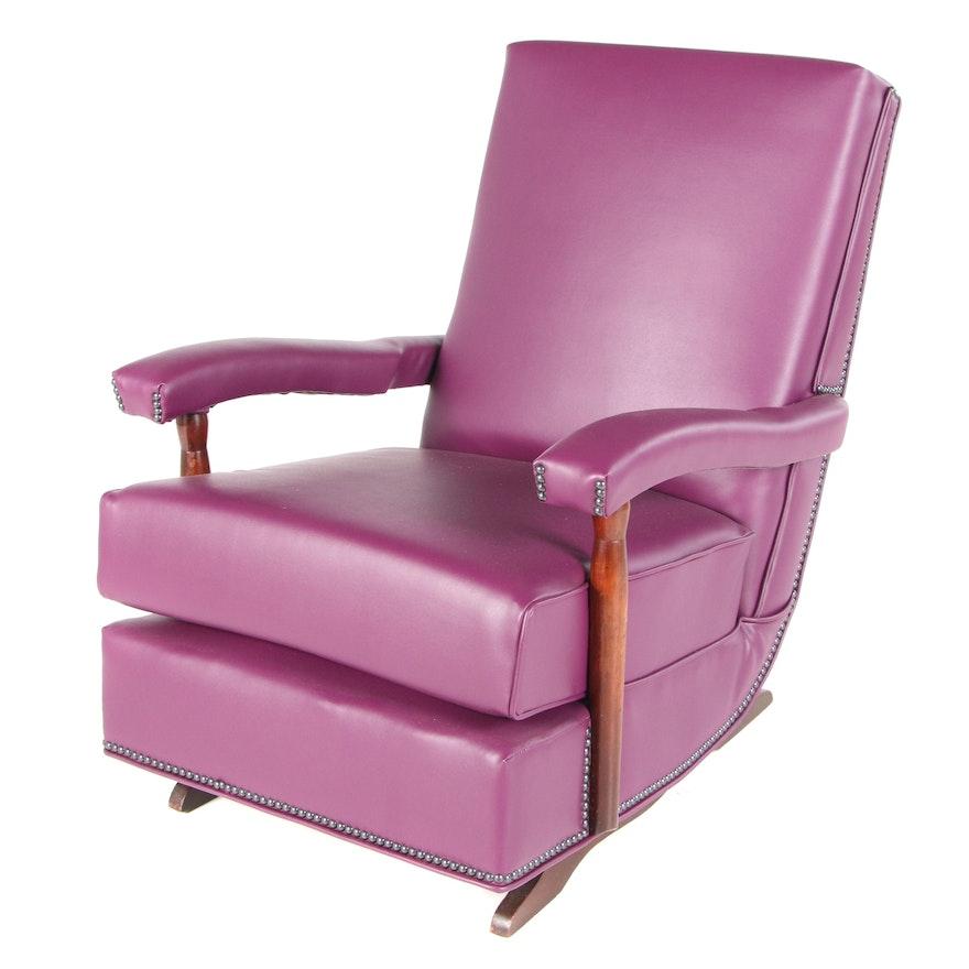 Vinyl Upholstered Platform Rocking Chair, Mid-20th Century
