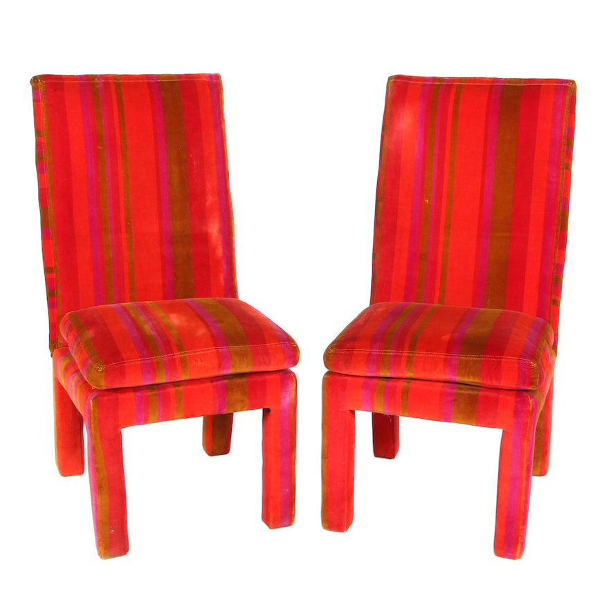 Pair of Thayer Coggin Velvet-Upholstered Parson's Chairs, Mid-20th Century