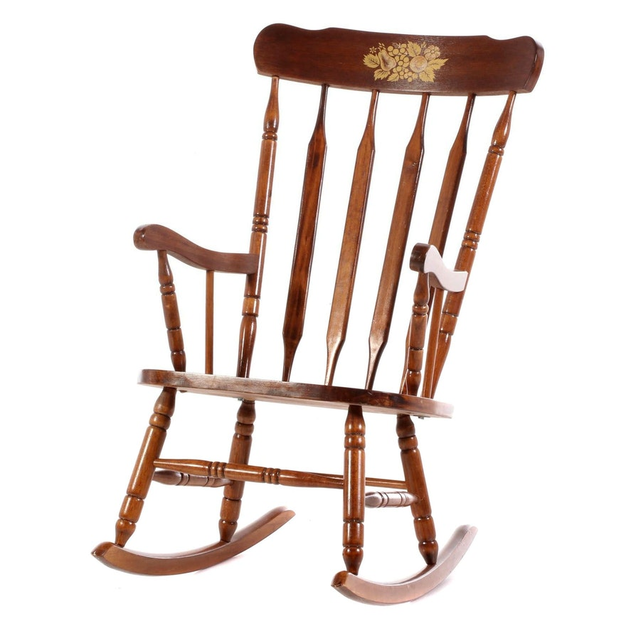 Colonial Style Stenciled Rocking Chair, Late 20th Century