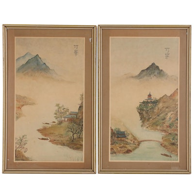 Chinese Inspired Watercolor Landscape Paintings