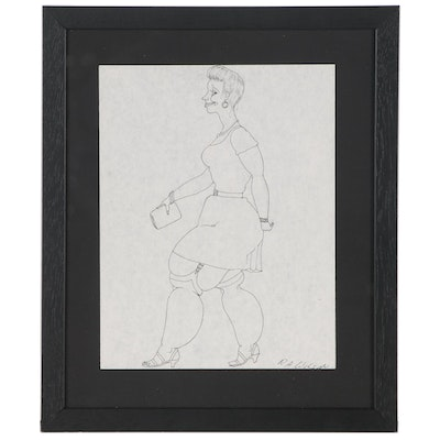 Ink Sketch of Female Figure, Late 20th Century