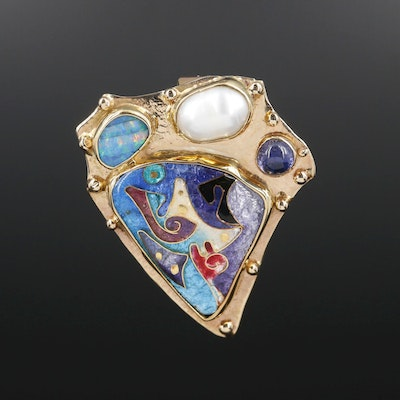 Judy Goskey 14K Gold Cultured Pearl, Opal, Iolite and Cloisonné Enamel Pendant