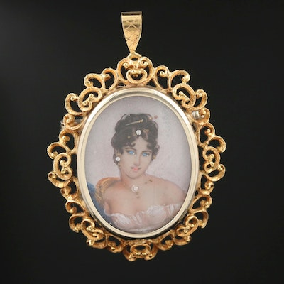 Vintage 18K Painted Porcelain and Diamond Figural Converter Brooch and Glass Top