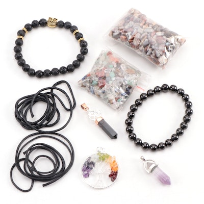 Loose Polished Agate and other Gemstones with Bracelets and Pendants