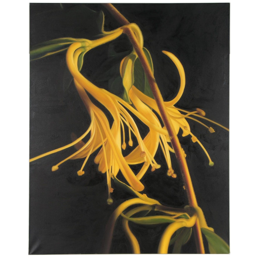 Andrew Stalder Monumental Photorealist Floral Oil Painting