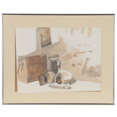 Judy Trujillo Watercolor Drawing of Pueblo Ovens, Late 20th Century