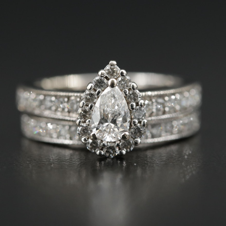 14K White Gold Diamond Ring and Band with GIA Report
