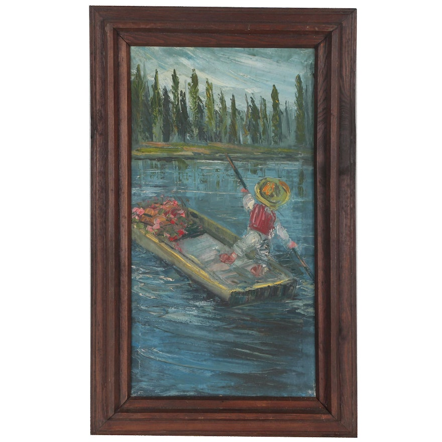 Naive Oil Painting of Figure in Boat