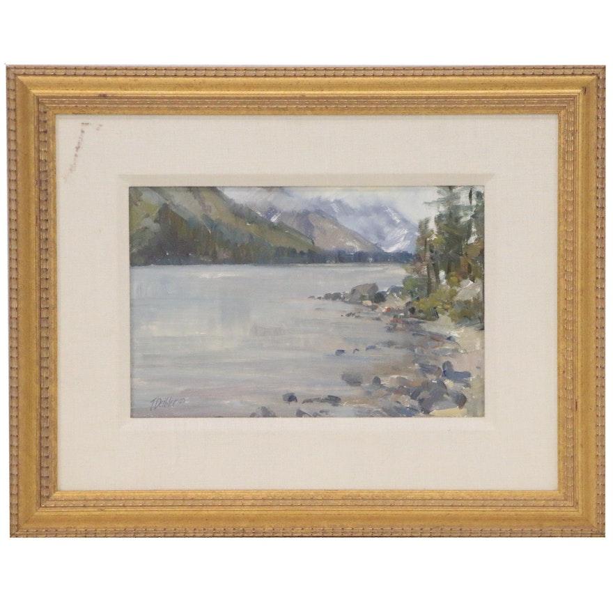 Tim Deibler Plein Air Impressionist Style Oil Mountain Landscape, 1997