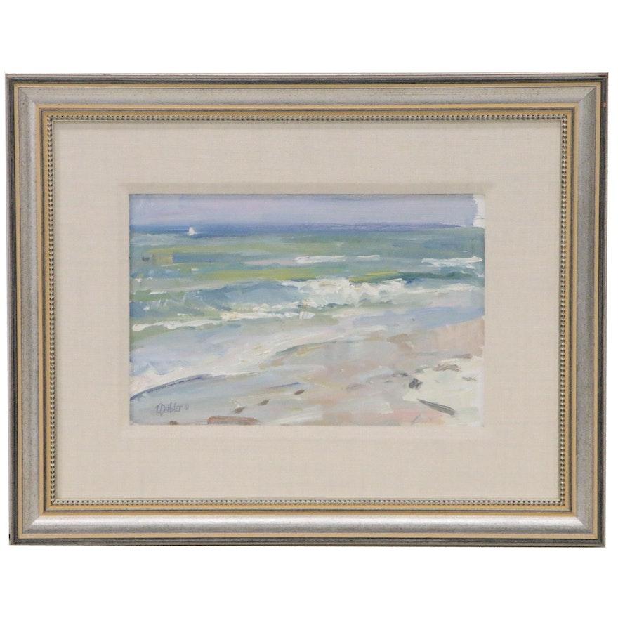 Tim Deibler Plein Air Impressionist Style Oil Seascape, 1997
