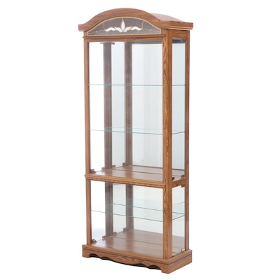 Oak-Grained Laminate Display Cabinet