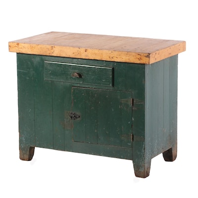 Painted Wood and Maple Cabinet, Late 19th to Early 20th Century