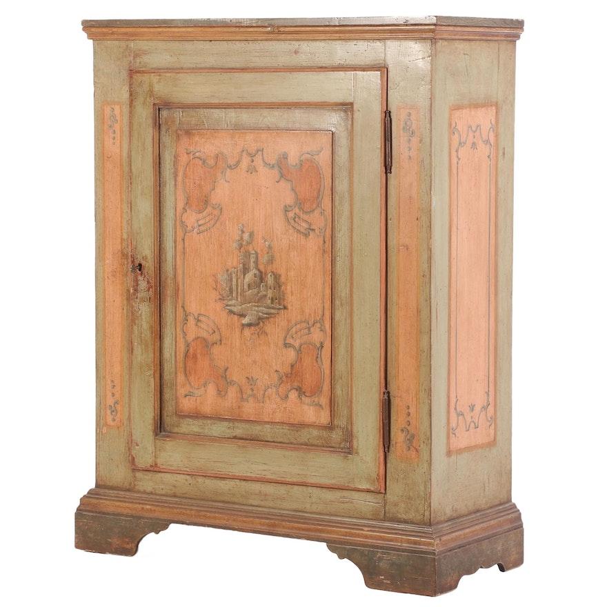 Gustavian Painted Pine Cabinet, 19th Century