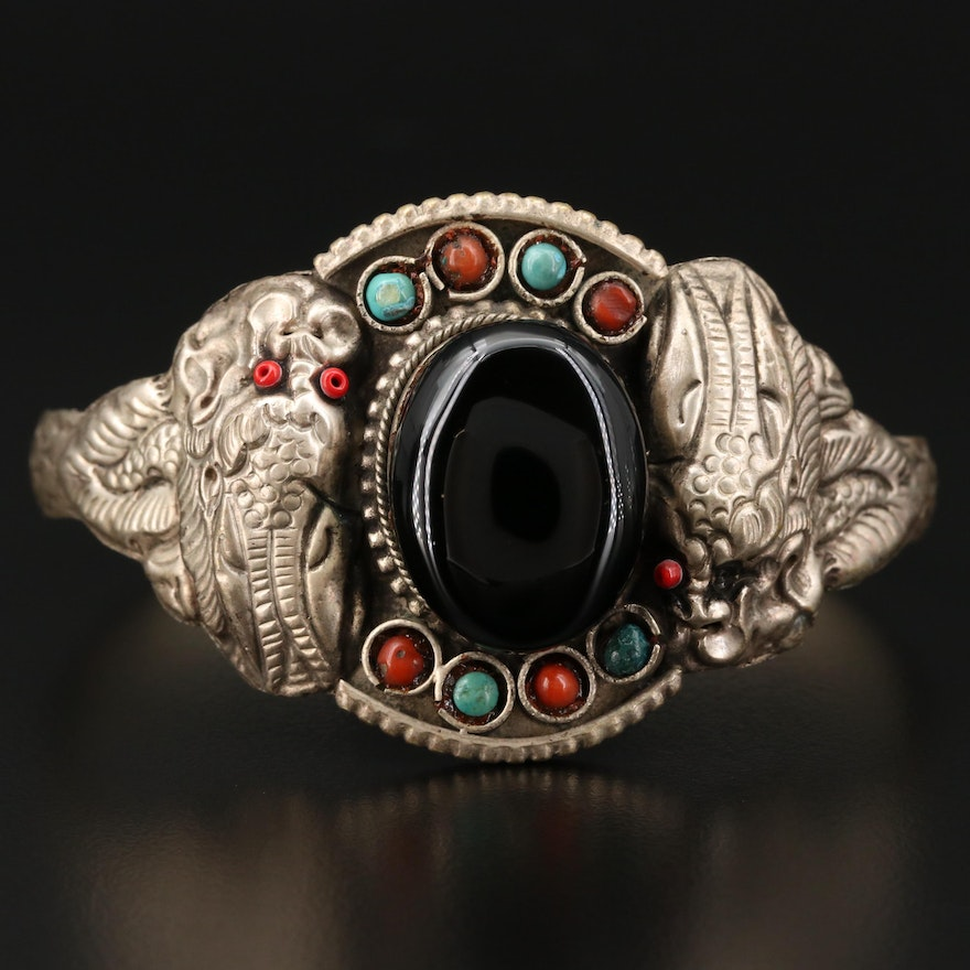 Black Onyx, Coral and Turquoise Chinese Dragon Cuff