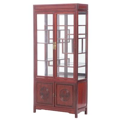 Chinese Style Hardwood Mirror-Back Display Cabinet