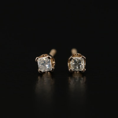 14K Yellow Gold 0.12 CTW Diamond Stud Earrings