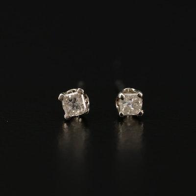 14K White Gold 0.09 CTW Diamond Stud Earrings