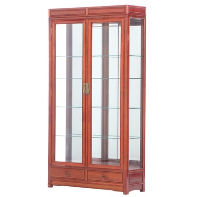 Thai Hardwood Mirror-Back Display Cabinet