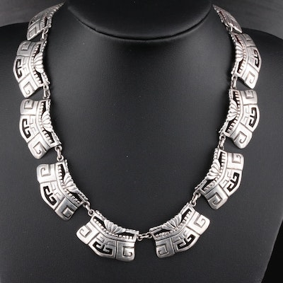 Mexican Sterling Silver Aztek Motif Choker Necklace