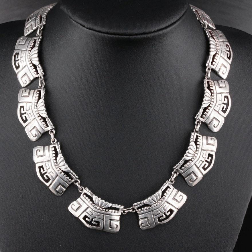 Mexican Sterling Silver Aztek Motif Choker Necklace