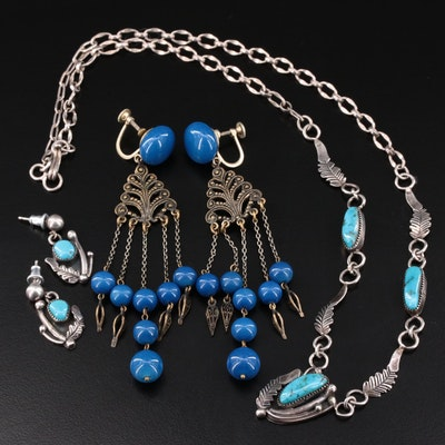 Vintage Chandelier Earrings and Southwestern Style Necklace and Earring Set
