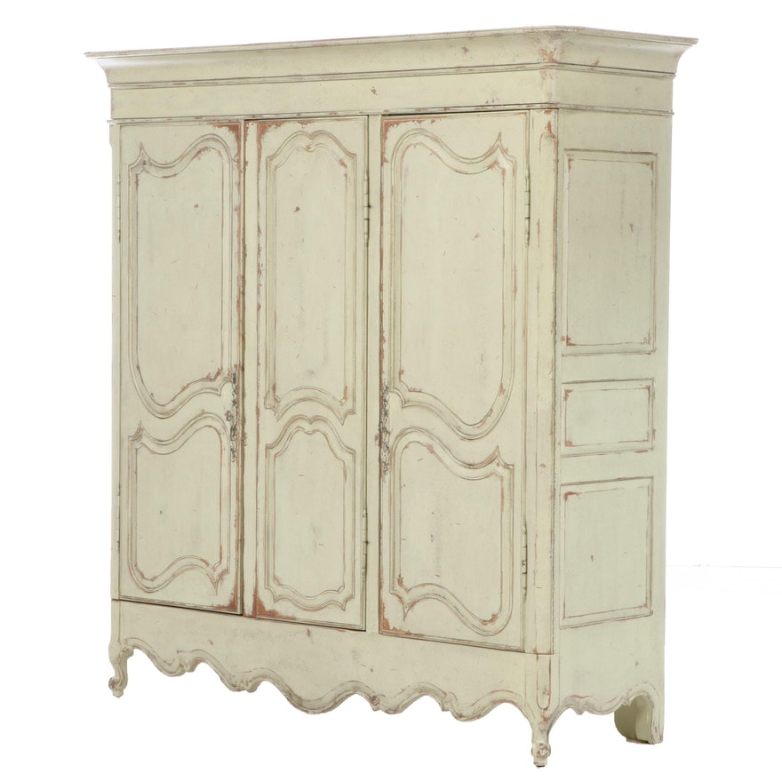 Habersham Louis XV Style Painted Wood Armoire, Late 20th Century