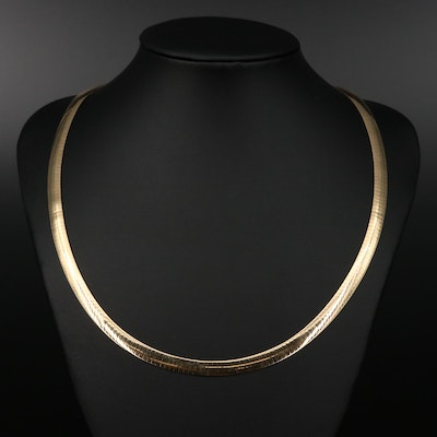 Aurafin 14K Two Tone Reversible Omega Necklace