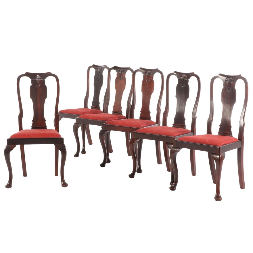 Queen Anne Style Cherrywood Dining Chairs, Early to Mid 20th Century