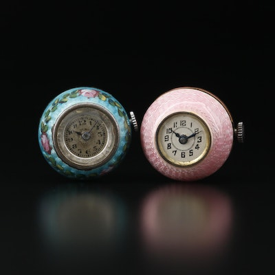 Vintage Exello and Weisco Sterling Silver and Enamel Pendant Watches