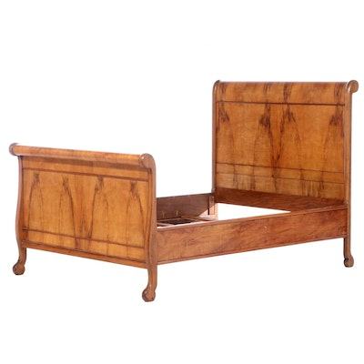 Empire Style Walnut Full Sized Sleigh Bed Frame, Early 20th Century