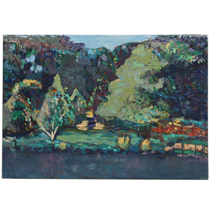 Jerald Miranov Monumental Post-Impressionistic Landscape Oil Painting
